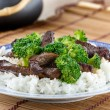 Chinese beef and broccoli on rice - Stock Photo