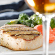 Pork loin filet dinner with wine — Stock Photo #8631293