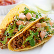 Beef tacos with lettuce cheese and tomato — Stock Photo #8633177