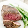 Stock Photo: Steak dinner closeup