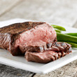 Sirloin steak with green beans — Stock Photo