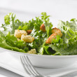 Leafy green salad with croutons — Stock Photo