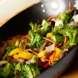 Wok stir fry - Stock Photo