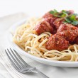 Stock Photo: Spaghetti and meatballs