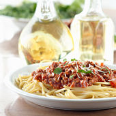 Italian spaghetti dinner — Stock Photo