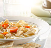 Chicken noodle soup closeup — Stock Photo