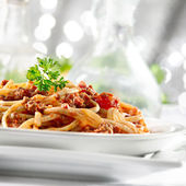 Pasta with tomato sauce and meat — Stock Photo