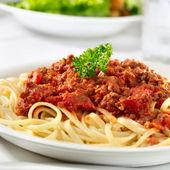 Spaghetti pasta with tomato beef sauce — Stock Photo