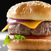 Cheeseburger macro — Stock Photo