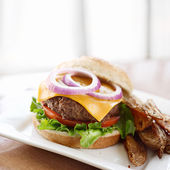 Cheeseburger with extra copyspace — Stock Photo