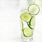 Lime drink with ice and copyspace — Stock Photo