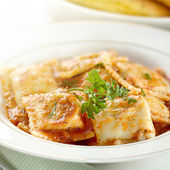 Ravioli with garnish — Stock Photo