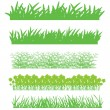 Stock Vector: Green grass, shrubs