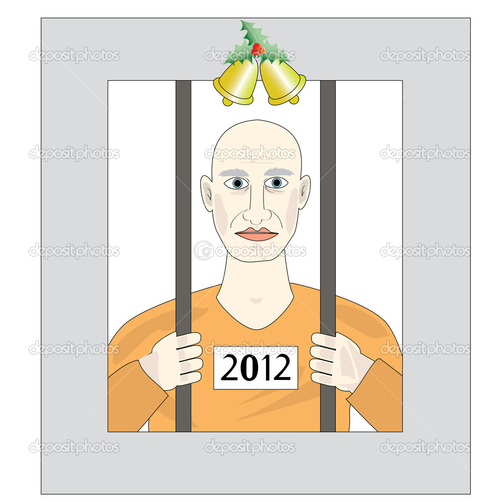 Prisoner of the New Year, the offender on Christmas  Stock Vector #8315729