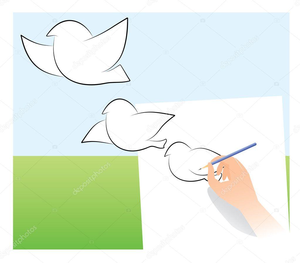 картинка голубь нарисованный