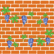Royalty-Free Stock Vector Image: Brick wall, grapes