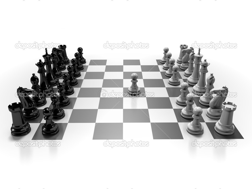 The beginning of a chess game  Stock Photo #8022140