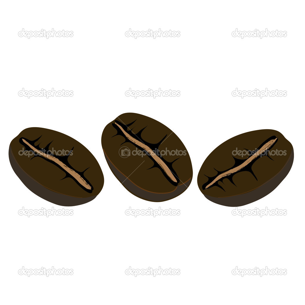 Three coffe beans, vector illustration, — Stock Vector #10230703