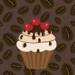 Royalty-Free Stock Vector Image: Cake on coffee bacground