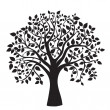 Black tree silhouette isolated on white background - Zdjęcie stockowe