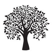 Black tree silhouette isolated on white background — 图库照片