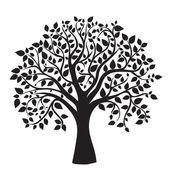 Sagoma nera albero isolato su sfondo bianco — Foto Stock