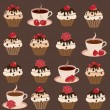 A set of cups and cakes — Stock Vector