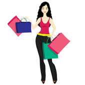 Smiling young woman with shopping bags. — Stock Vector