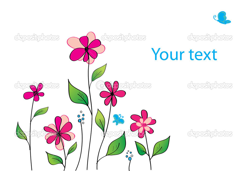 Flowers with butterfly, illustration card — Stock Photo #8024894