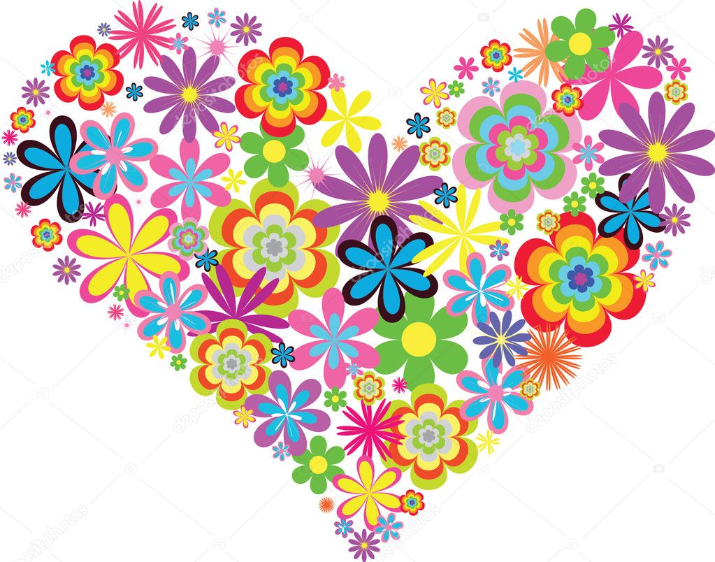 Heart of flowers in the vector — Stock Vector #8348628