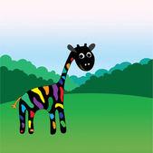 Giraffe staring at field, vector — Stock Vector