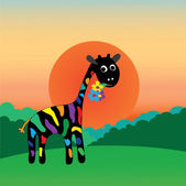 Giraffe gives gift for the holiday — Vector de stock