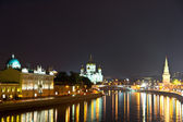 Night view of Moscow River. Moscow, Russia — Stock Photo
