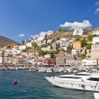 Harbour of Hydra island. Greece. - Stock Photo