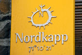 North Cape sign tablet. Norway. — Stock Photo