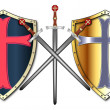 ストックベクタ: Crusader Shields and Swords