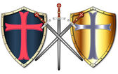 Crusader Shields and Swords — Stock Vector