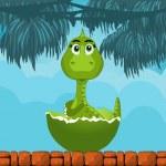 Little dinosaur birth in Jungle — Stock Vector