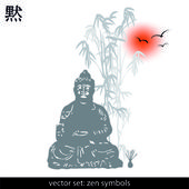 Zen, silhouette, symbols — Stock Vector