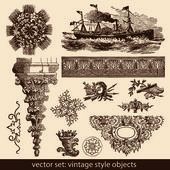 Vintage style objects — Stock Vector