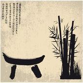 Zen, silhouet, symbolen — Stockvector