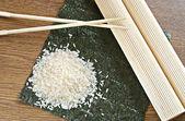 Rice and mat — Stock Photo