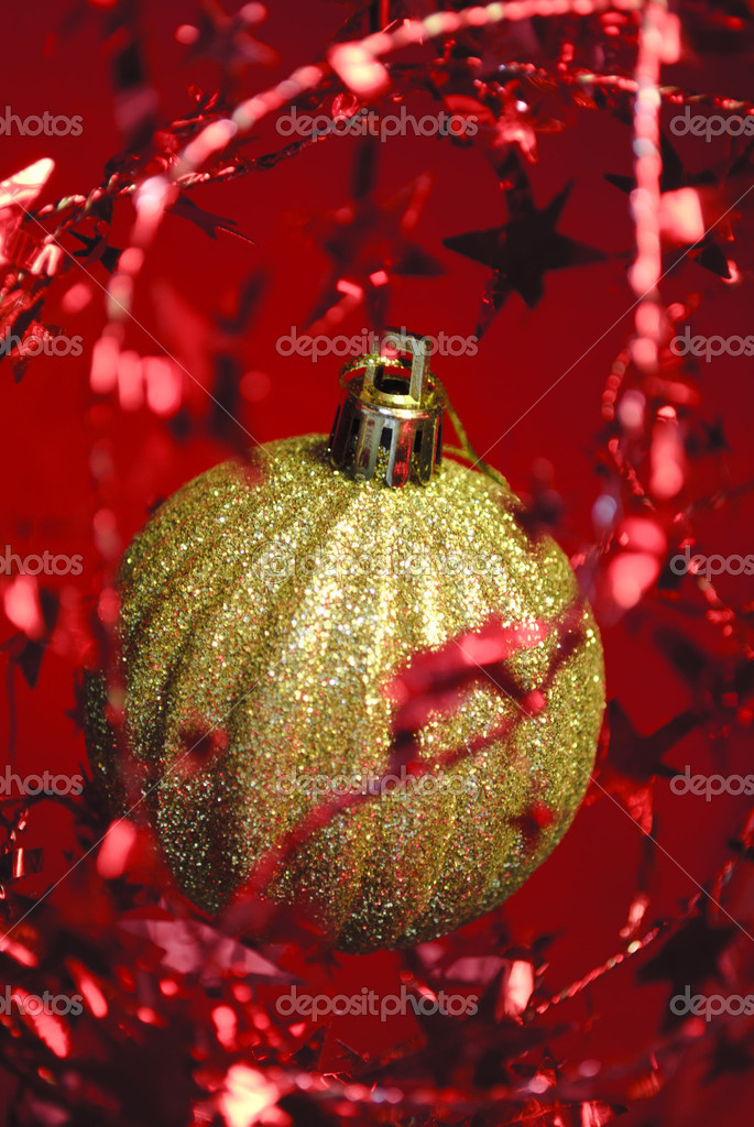 New Year, decorations, christmas balls, holiday, golden ball. — Stock Photo #8636541