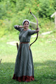 Medieval archer woman — Stock Photo