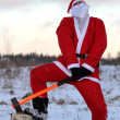 Santa Claus with axe — Stockfoto