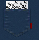 Jeans pocket with percents — Stock Photo