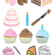 Cupcake Bakery Icon Set — Stock Photo