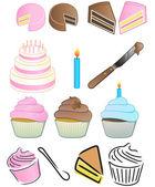 Set di icone di Cupcake bakery — Foto Stock