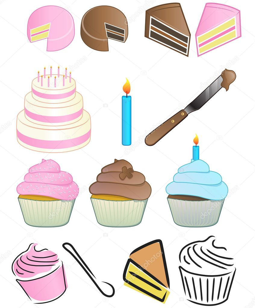 Various bakery icons; cake, knife, cupcake, spoon, amd candle  Photo #8043361
