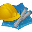 Hardhat and blue prints icon — Stock Vector #8372917